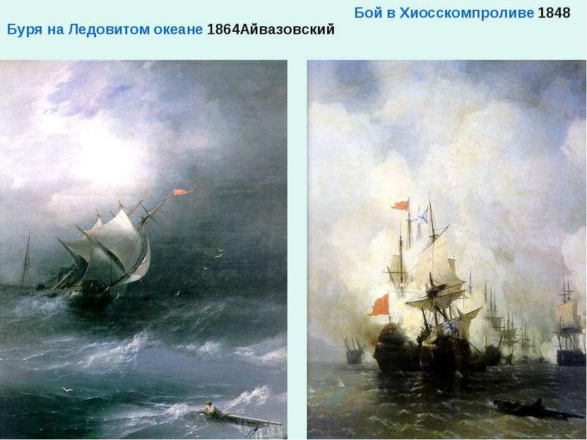 Буря на Ледовитом океане 1864Айвазовский Бой в Хиосском проливе 1848