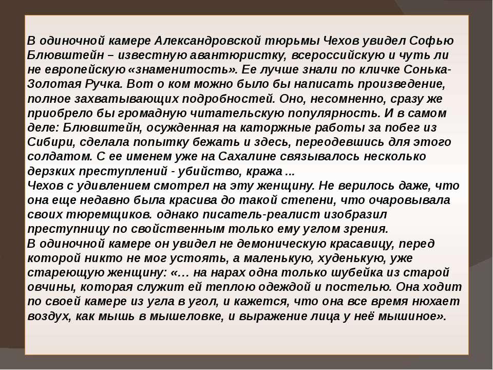 В одиночной камере Александровской тюрьмы Чехов увидел Софью Блювштейн – изве...