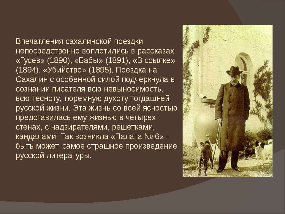 Впечатления сахалинской поездки непосредственно воплотились в рассказах «Гусе...
