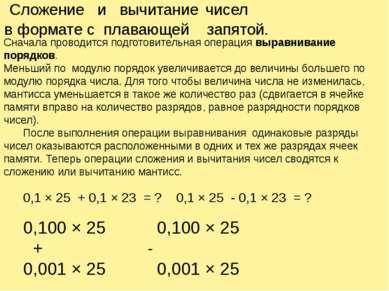 Сложение и вычитание чисел в формате с плавающей запятой. Сначала проводится ...
