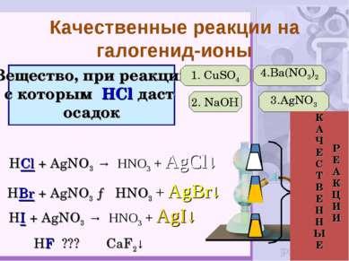 Вещество, при реакции с которым HCl даст осадок 1. CuSO4 2. NaOH 3.AgNO3 4.Ba...