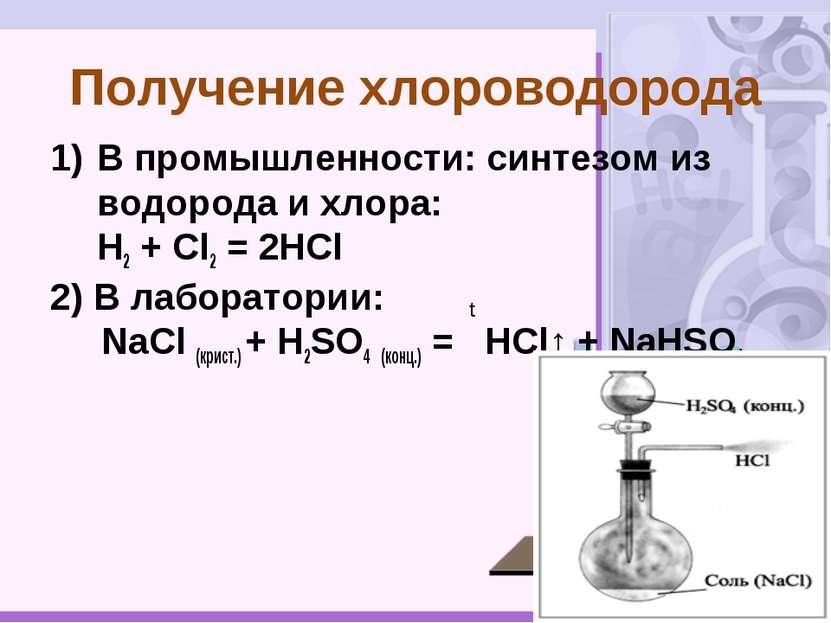В промышленности: синтезом из водорода и хлора: H2 + Cl2 = 2HCl 2) В лаборато...