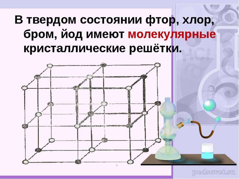 В твердом состоянии фтор, хлор, бром, йод имеют молекулярные кристаллические ...