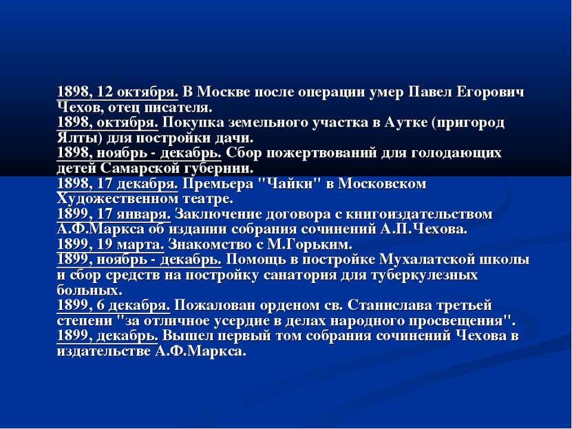 1898, 12 октября. В Москве после операции умер Павел Егорович Чехов, отец пис...