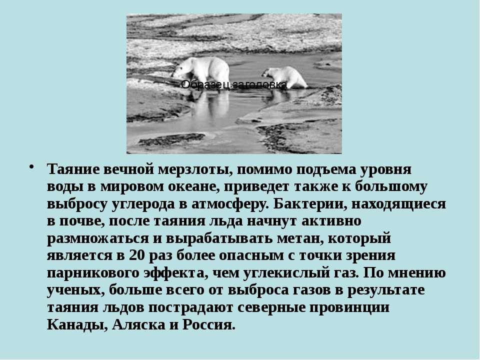Таяние вечной мерзлоты, помимо подъема уровня воды в мировом океане, приведет...