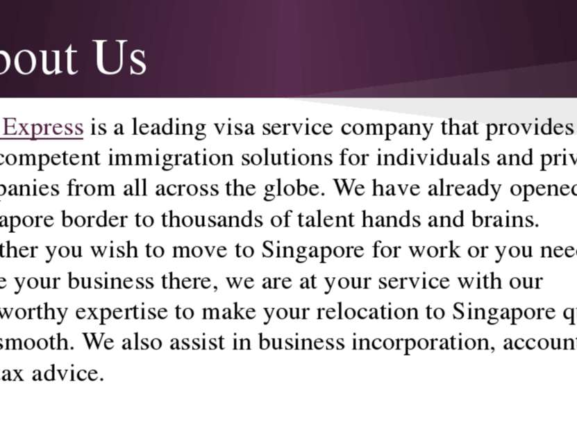 About Us Visa Express is a leading visa service company that provides easy an...