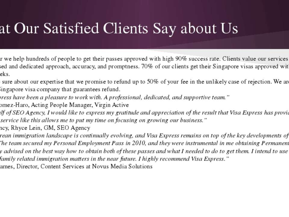 What Our Satisfied Clients Say about Us Every year we help hundreds of people...