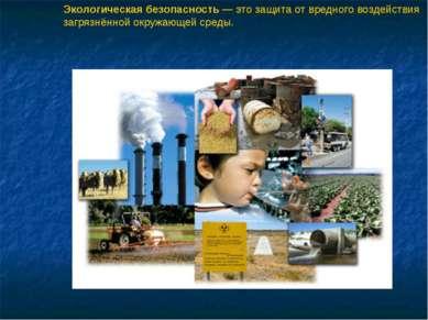 Экологическая безопасность — это защита от вредного воздействия загрязнённой ...
