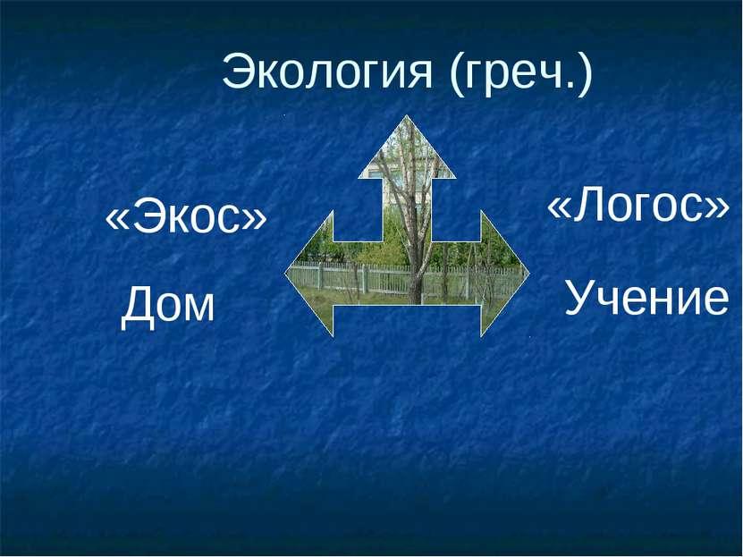 Экология (греч.) «Экос» «Логос» Дом Учение