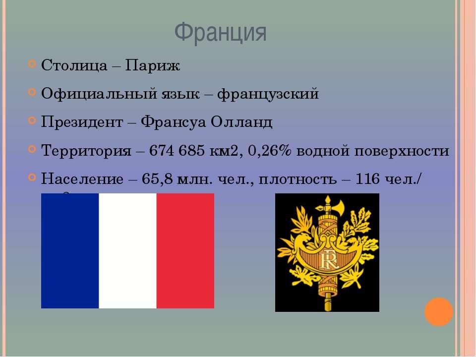 Франция Столица – Париж Официальный язык – французский Президент – Франсуа Ол...