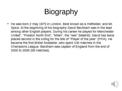 Biography He was born 2 may 1975 in London. Best known as a midfielder, and M...