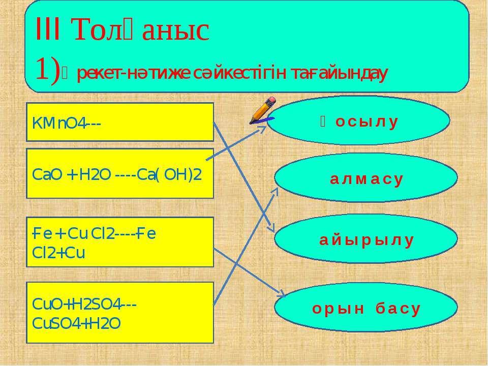 ІІІ Толғаныс 1)Әрекет-нәтиже сәйкестігін тағайындау КМnO4--- CaO + H2O ----Ca...