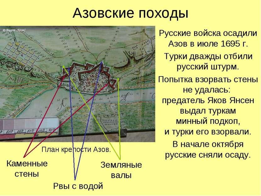 Азовские походы Русские войска осадили Азов в июле 1695 г. Турки дважды отбил...