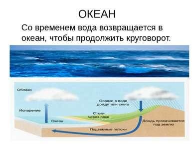 ОКЕАН Со временем вода возвращается в океан, чтобы продолжить круговорот.