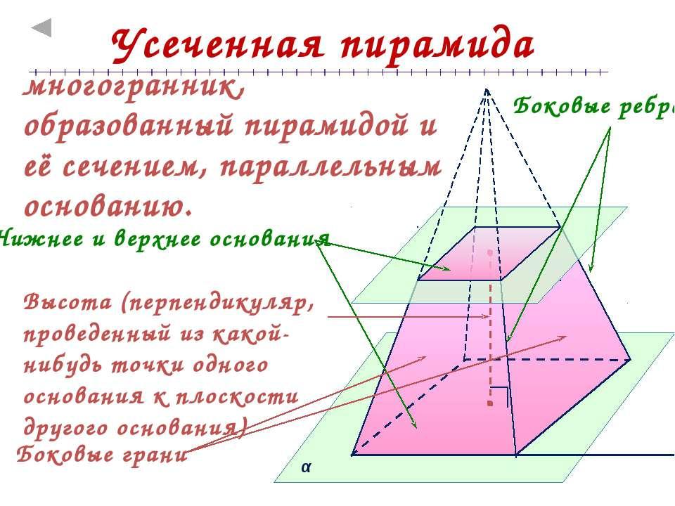 Теорема о площади боковой поверхности правильной усеченной пирамиды Площадь б...