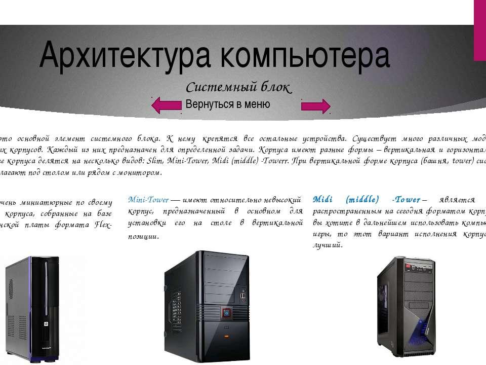 Архитектура компьютера Вернуться в меню Материнская плата На материнской плат...