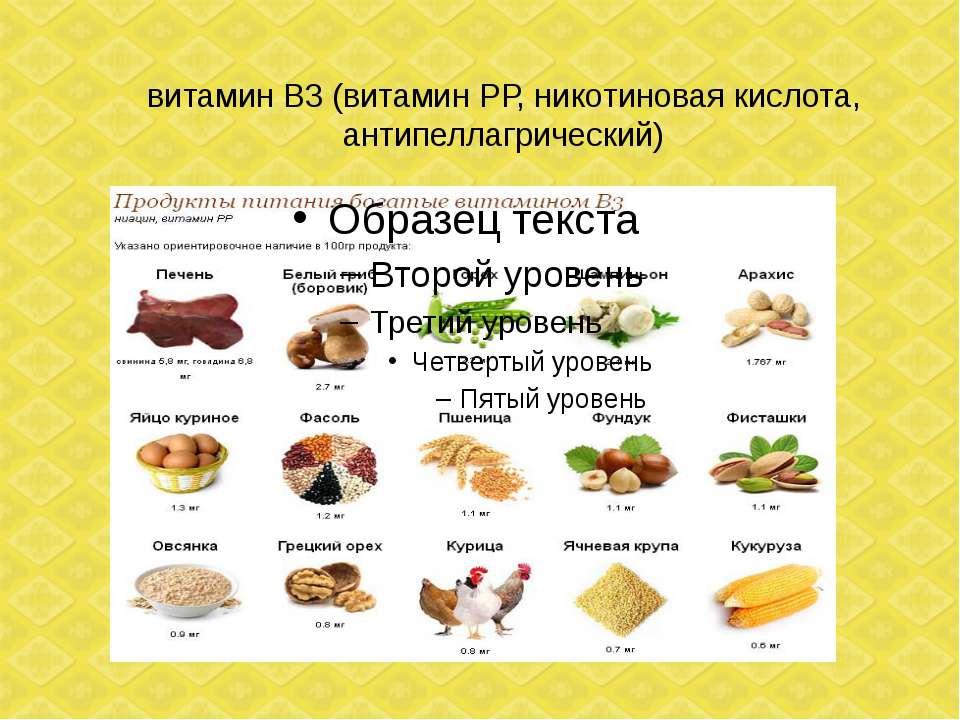 витамин В3 (витамин РР, никотиновая кислота, антипеллагрический)