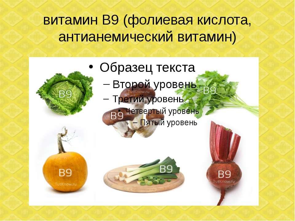 витамин В9 (фолиевая кислота, антианемический витамин)