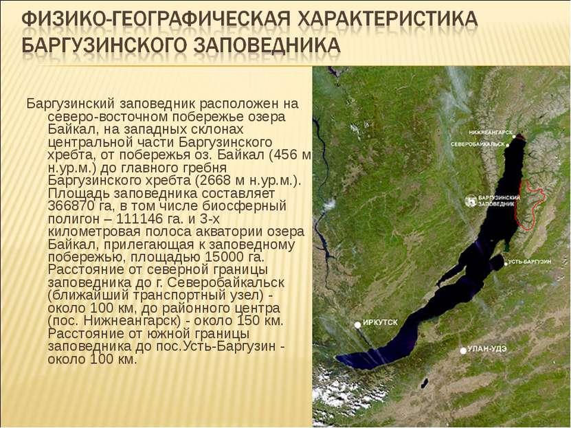 Баргузинский заповедник расположен на северо-восточном побережье озера Байкал...