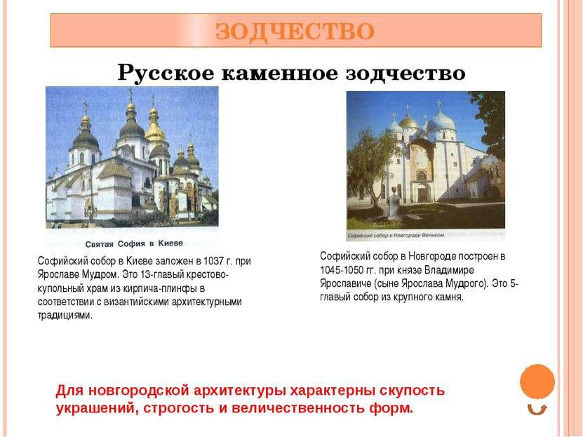 ЗОДЧЕСТВО Русское каменное зодчество Софийский собор в Киеве заложен в 1037 г...