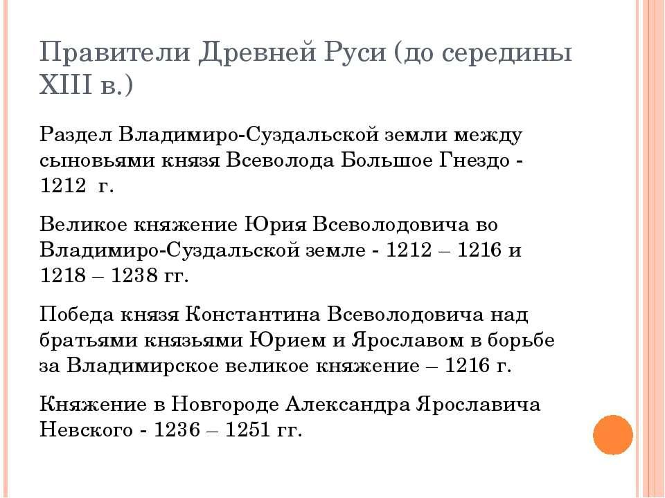 Правители Древней Руси (до середины XIII в.) Раздел Владимиро-Суздальской зем...