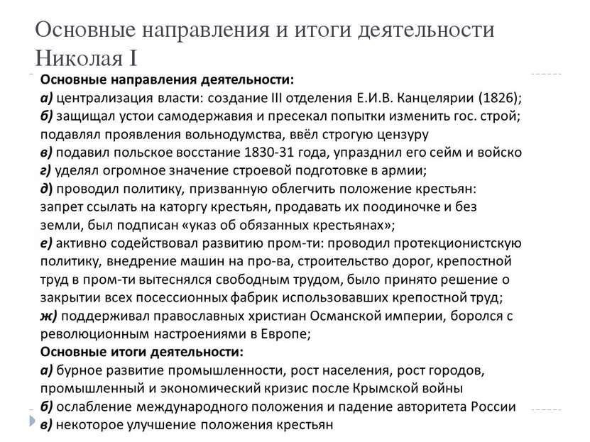 Основные направления и итоги деятельности Николая I