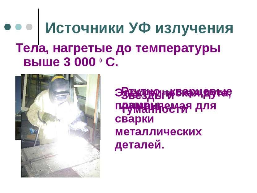 Источники УФ излучения Тела, нагретые до температуры выше 3 000 о С. Звезды и...