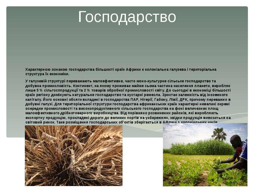 Господарство Характерною ознакою господарства більшості країн Африки є колоні...