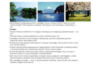 Крупнейшиеостроваархипелага:Хоккайдо,Хонсю,СикокуиКюсю. Также в состав...