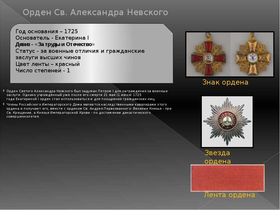 Орден Св. Великомученика и Победоносца Георгия Екатерина II учредила высший о...