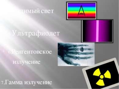 4.Видимый свет 5.Ультрафиолет 6.Ренгентовское излучение 7.Гамма излучение