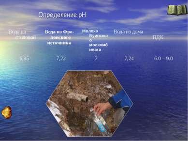 Определение рН Вода из столовой Вода из Фро-ловского источника Молоко Буинско...