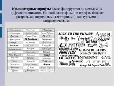 Компьютерные шрифты классифицируются по методам их цифрового описания. По это...