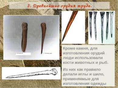 Кроме камня, для изготовления орудий люди использовали кости животных и рыб. ...