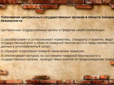 Полномочия центральных государственных органов в области пожарной безопасност...