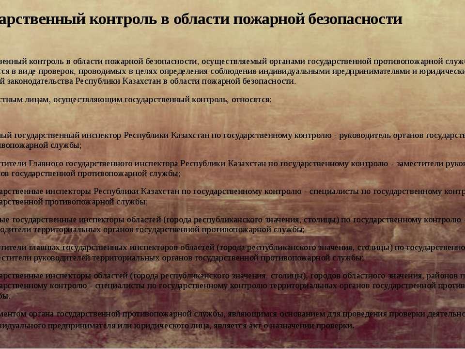 Государственный контроль в области пожарной безопасности Государственный конт...