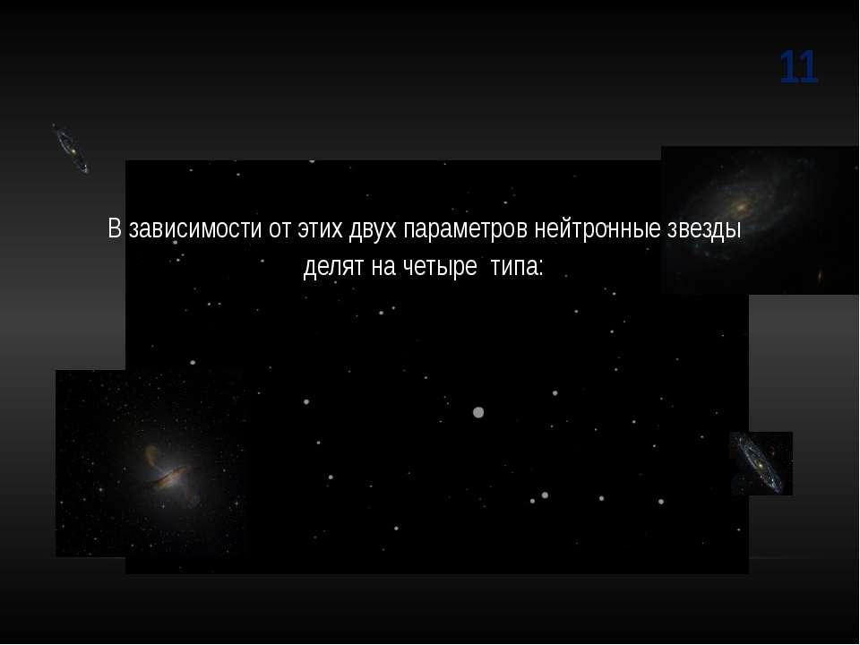 11 В зависимости от этих двух параметров нейтронные звезды делят на четыре типа: