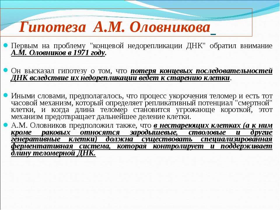 """Первым на проблему """"концевой недорепликации ДНК"""" обратил внимание А.М. Оловни..."""