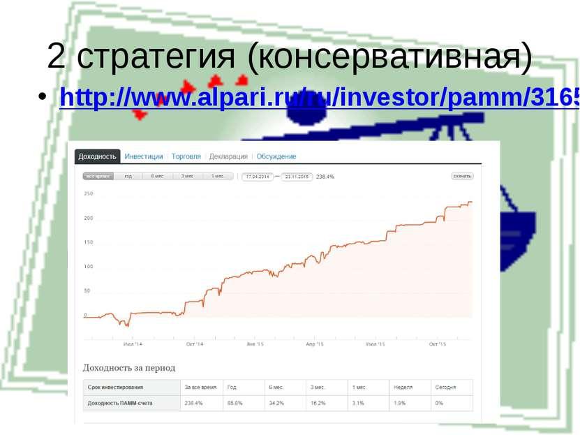 2 стратегия (консервативная) http://www.alpari.ru/ru/investor/pamm/316560/#pa...