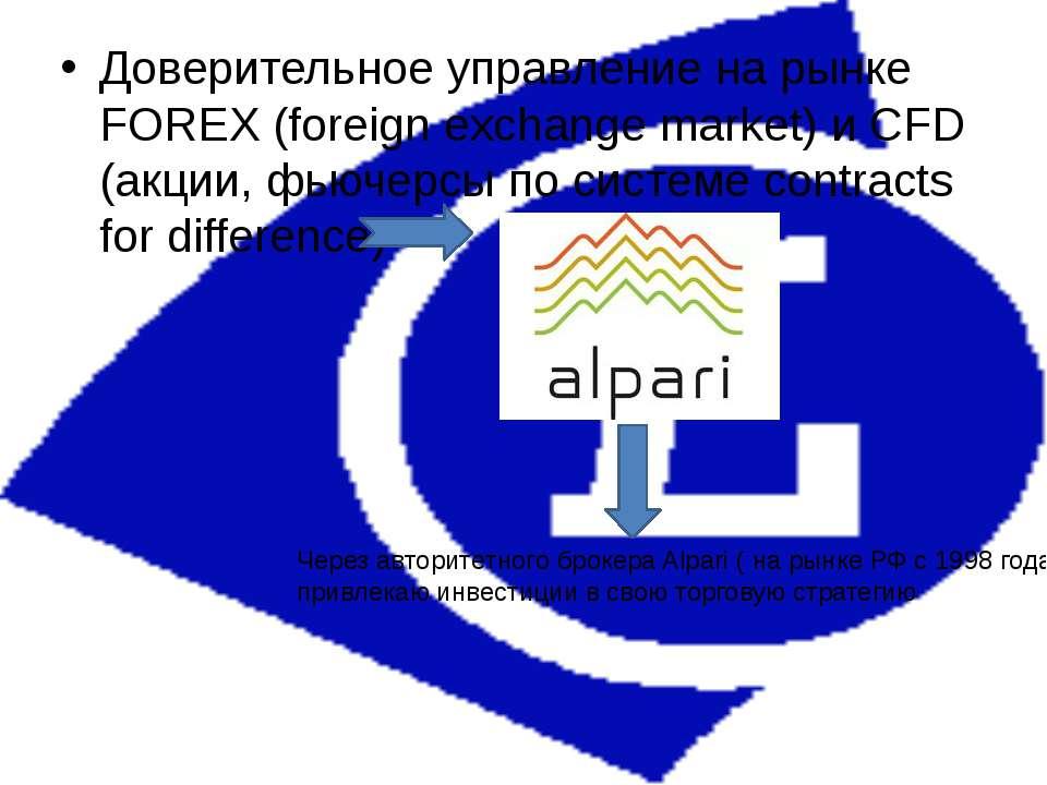 Доверительное управление на рынке FOREX (foreign exchange market) и CFD (акци...