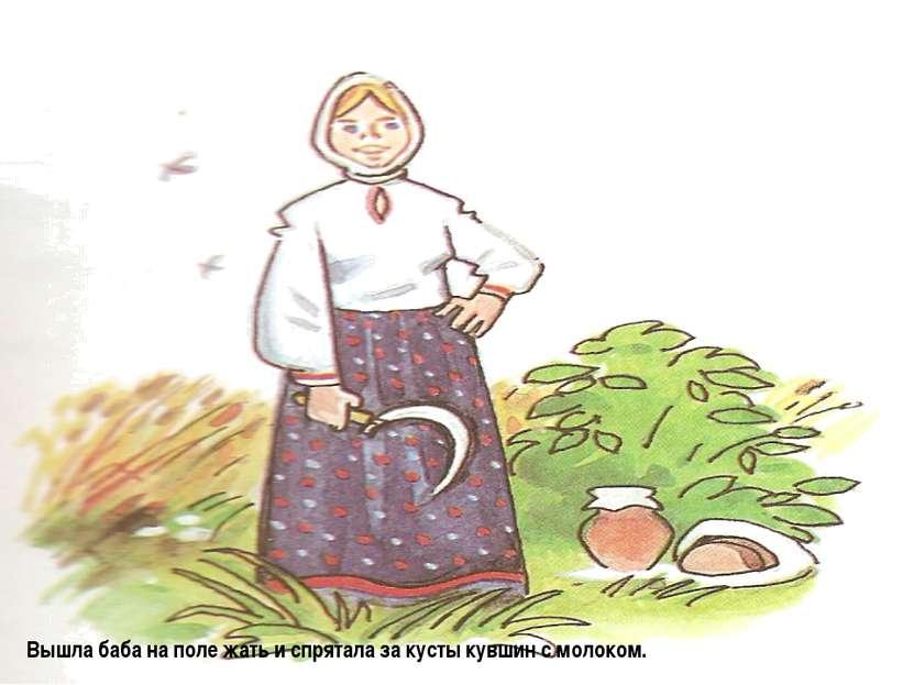Вышла баба на поле жать и спрятала за кусты кувшин с молоком.