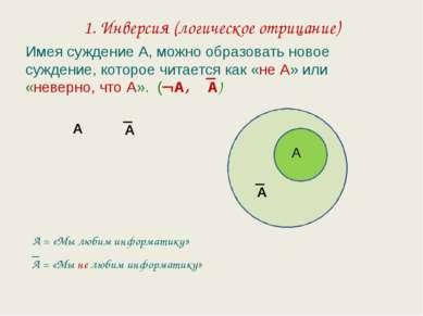 1. Инверсия (логическое отрицание) Имея суждение А, можно образовать новое су...