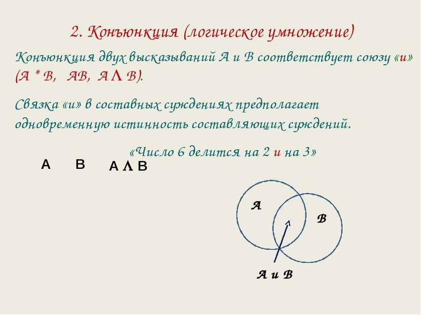 2. Конъюнкция (логическое умножение) Конъюнкция двух высказываний А и В соотв...
