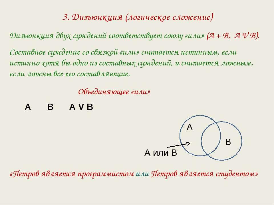 3. Дизъюнкция (логическое сложение) Дизъюнкция двух суждений соответствует со...