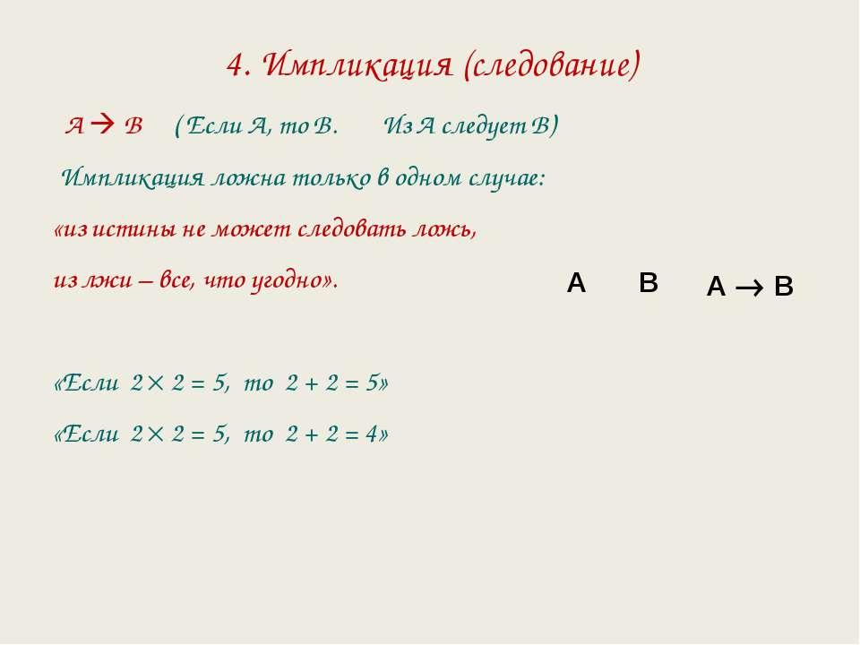 4. Импликация (следование) А В ( Если А, то В. Из А следует В) Импликация лож...