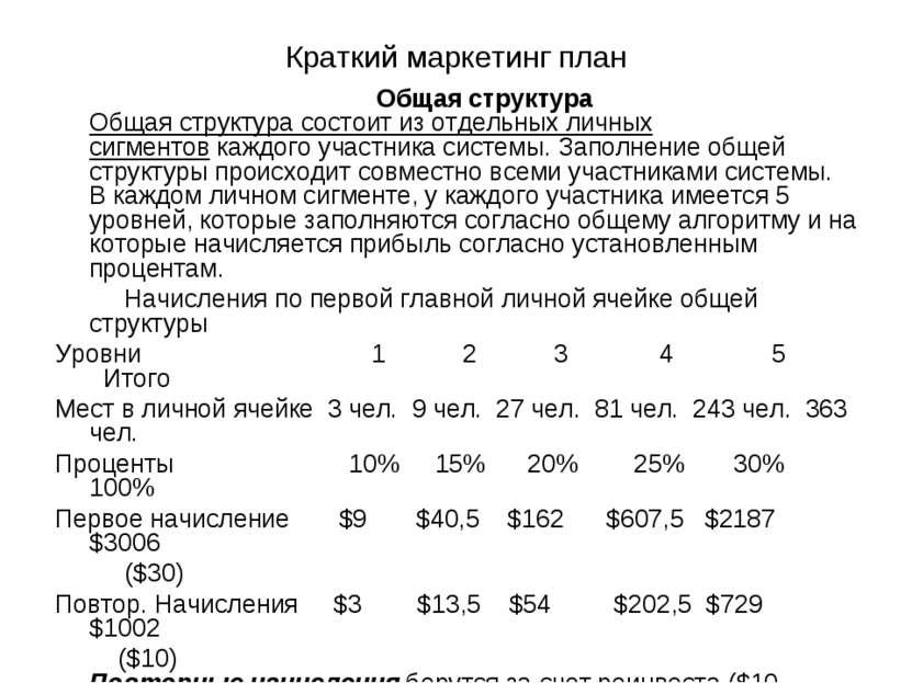 Краткий маркетинг план Общая структура Общая структура состоит из отдельных л...