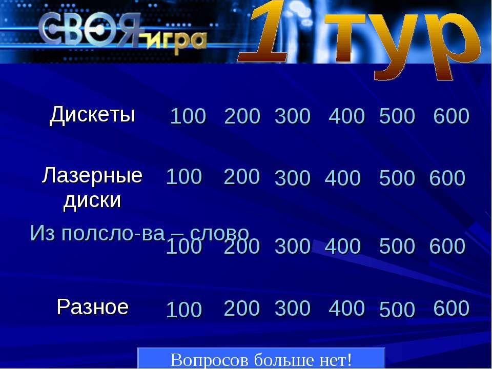 Вопросов больше нет! 100 200 300 400 500 600 100 200 300 400 500 600 100 200 ...