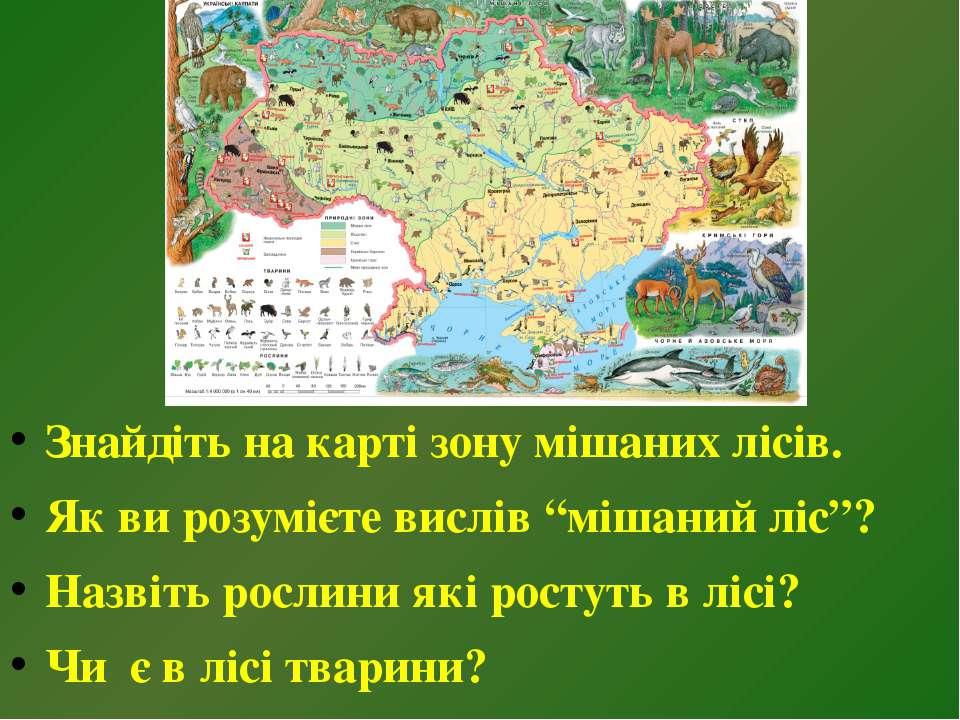 """Знайдіть на карті зону мішаних лісів. Як ви розумієте вислів """"мішаний ліс""""? Н..."""