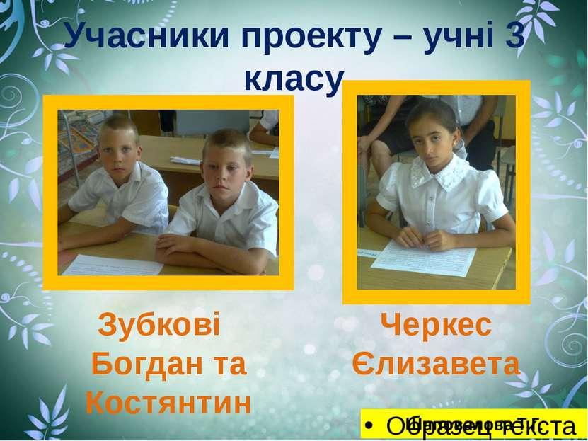 Учасники проекту – учні 3 класу Зубкові Богдан та Костянтин Черкес Єлизавета