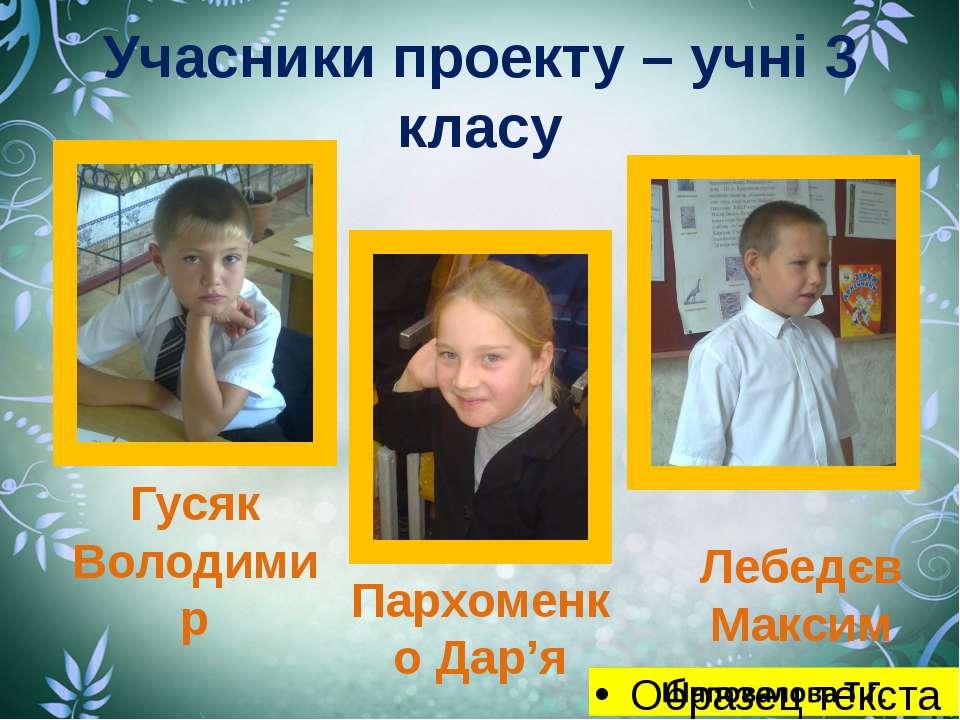 Учасники проекту – учні 3 класу Гусяк Володимир Пархоменко Дар'я Лебедєв Максим